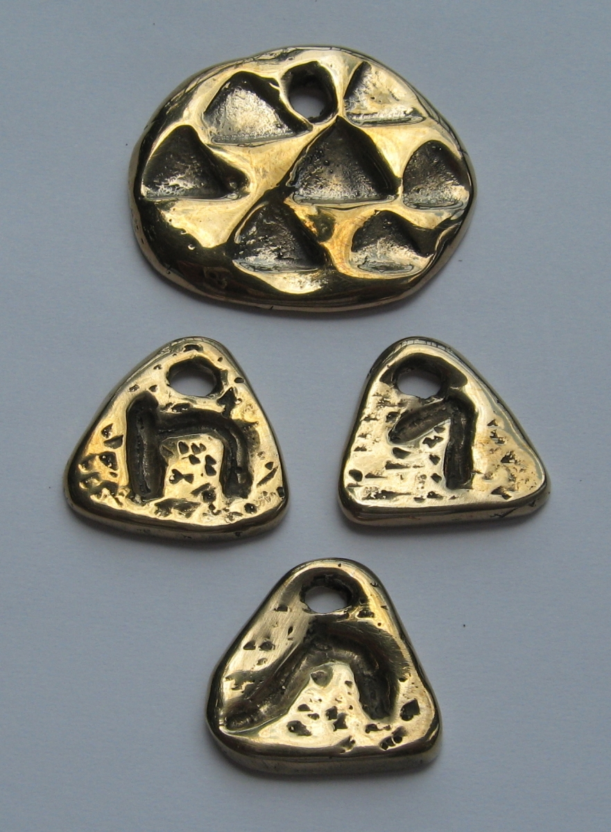 Sefirot Triangles and Chet, Tav, Gimel pendants